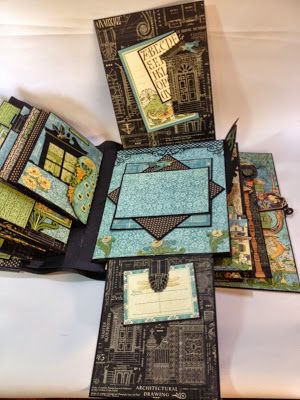 "May 2015 G45 Artisan Style & Tim Holtz - 9 3/4"" x 12"" Travel 3D Photo Album (with Easel Stand Cover for easy Display); Tutorial Part 3 of 4 by Anne; Anne's Paper Creations"