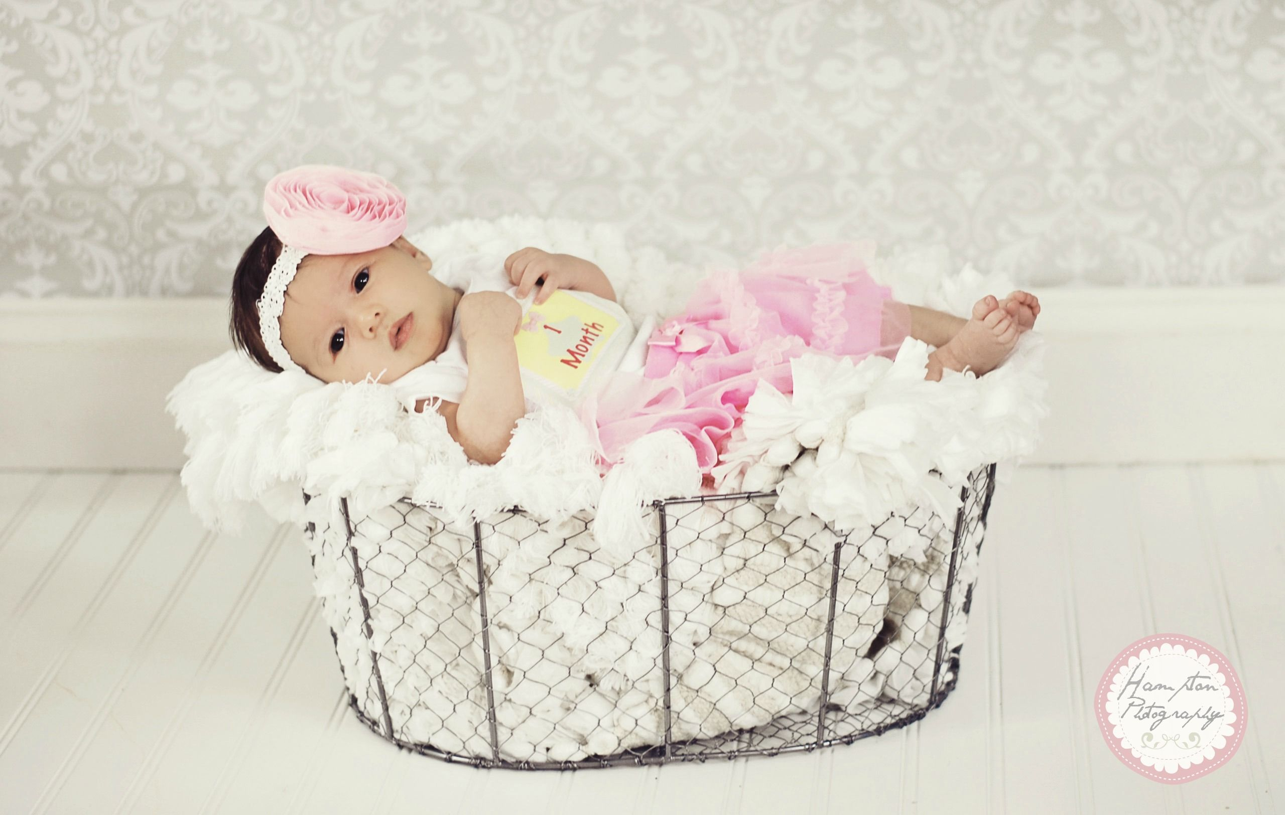 Newborn baby girl photo prop ideas wire basket tu tu 1 month old diy handmade headband by me