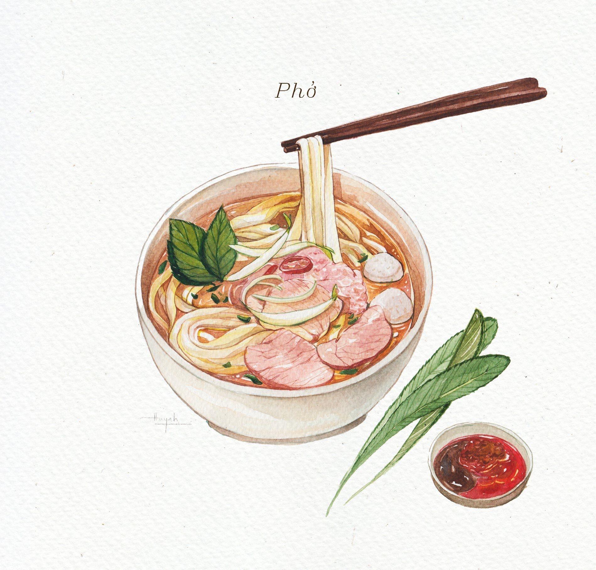 Food Watercolor Vietnam Foodillustration Food T