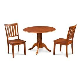 M D Furniture Burlington Saddle Brown Dining Set With Round Dining Table Bumo3 Sbr W Small Kitchen Table Sets