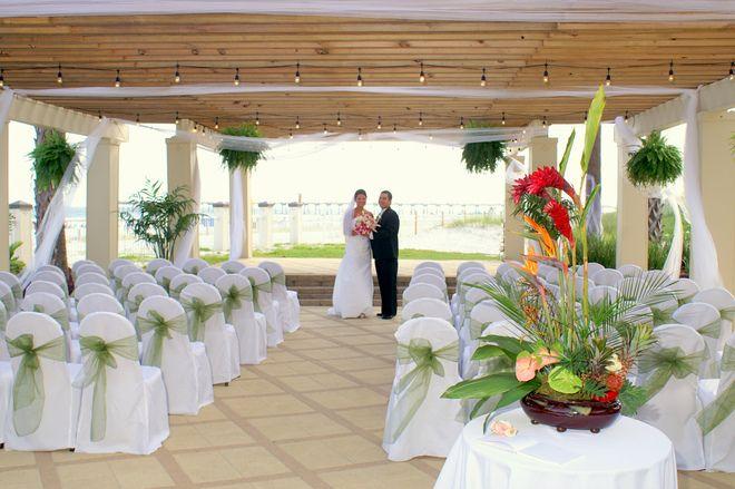 Ceremony Setting In The Pergola At Hilton Pensacola Beach Hotel