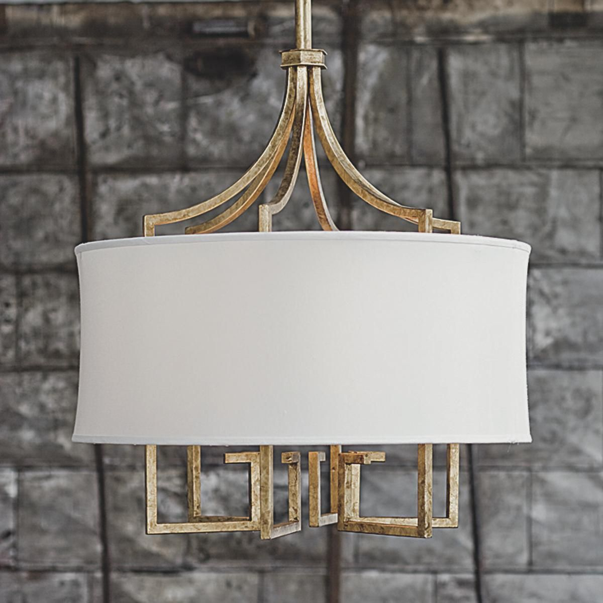 Greek Key Shade Chandelier Available In Gold Or Nickel 44 H X 24 W White Linen Drum At Shades Of Light 1 572