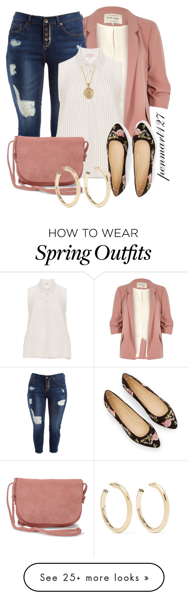 """#Plussize Blazer Outfit"" by penny-martin on Polyvore featuring River Island, Dollhouse, TOMS, 2028 and Kenneth Jay Lane"
