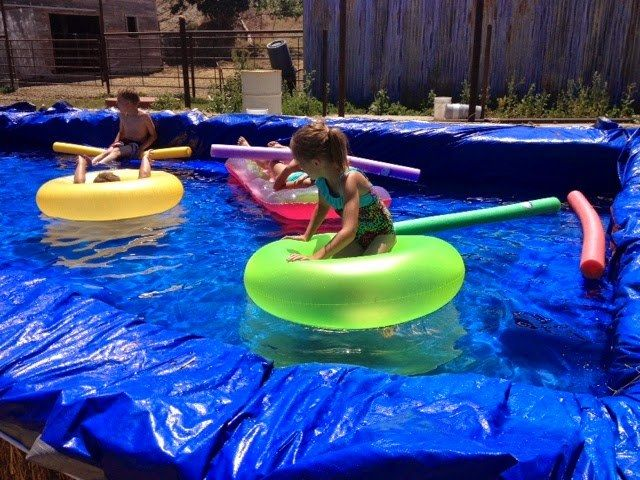 Hay Bale Swimming Pool Homemade swimming pools, Diy