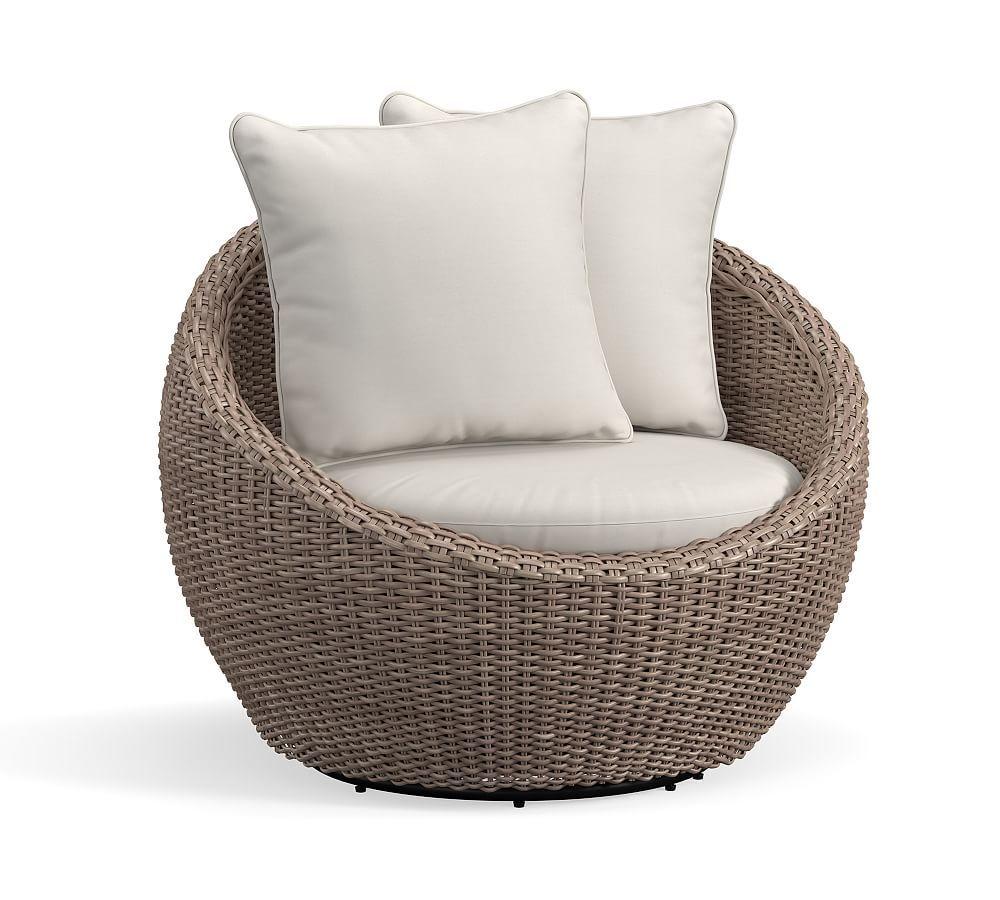 Torrey All Weather Wicker Papasan Swivel Chair Natural In 2020 Papasan Chair Wicker Outdoor Chairs