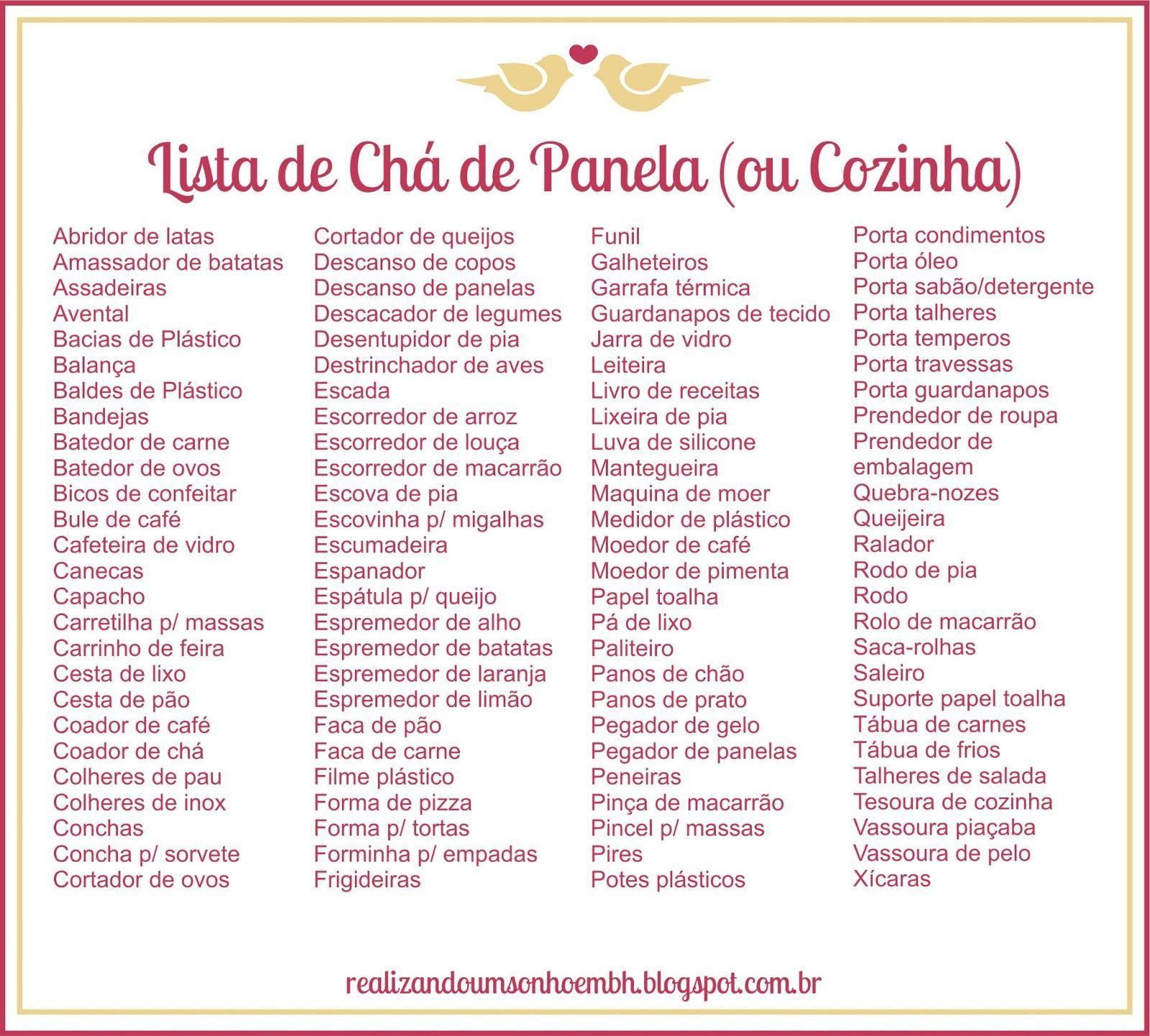Cha De Cozinha Ch De Panela Bar E Lingerie Pinterest Ch  ~ Lista Chá De Cozinha Pronta