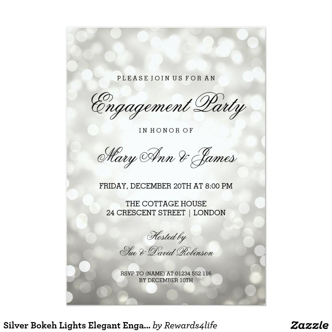 Silver Bokeh Lights Elegant Engagement Party Card | Wedding ...