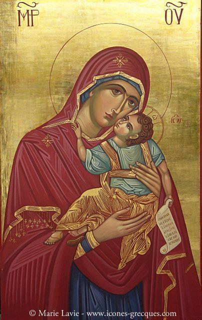 Marie, La Vierge de Tendresse - H Παναγία η Γλυκοφιλούσα (gr.) :: Icônes  orthodoxes grecques-byzantines de la Mè… | Vierge marie, Icônes orthodoxes,  Icône orthodoxe