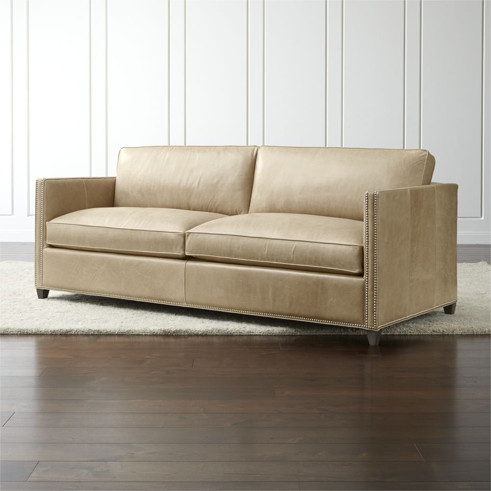 Cheap Sectional Sofas Dryden Leather Queen Sleeper Sofa with Nailheads and Air Mattress Crate and Barrel