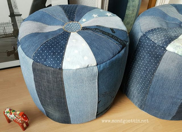 pouf aus jeans mit schnittmuster anleitung sewing up recycling tutorials pattern. Black Bedroom Furniture Sets. Home Design Ideas