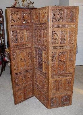 Antique Hand Carved Wooden 3 Panel Screen Room Divider