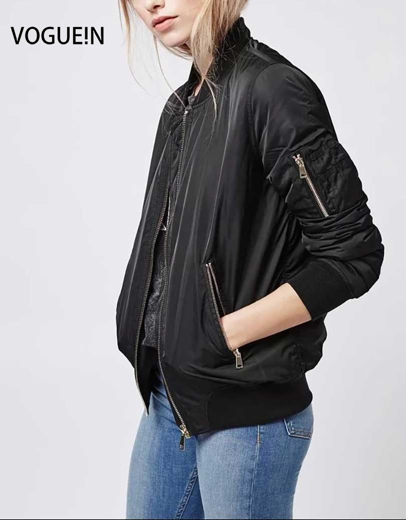 Click To Buy Vogue N New Womens Spring Autumn Long Sleeve Basic Jacket Casual Zipper Pockets Bomber Jac Bomber Jacket Basic Jackets Long Sleeve Outerwear [ 1039 x 810 Pixel ]