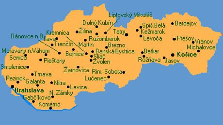 map of slovakia with cities Google Search MAPS Pinterest