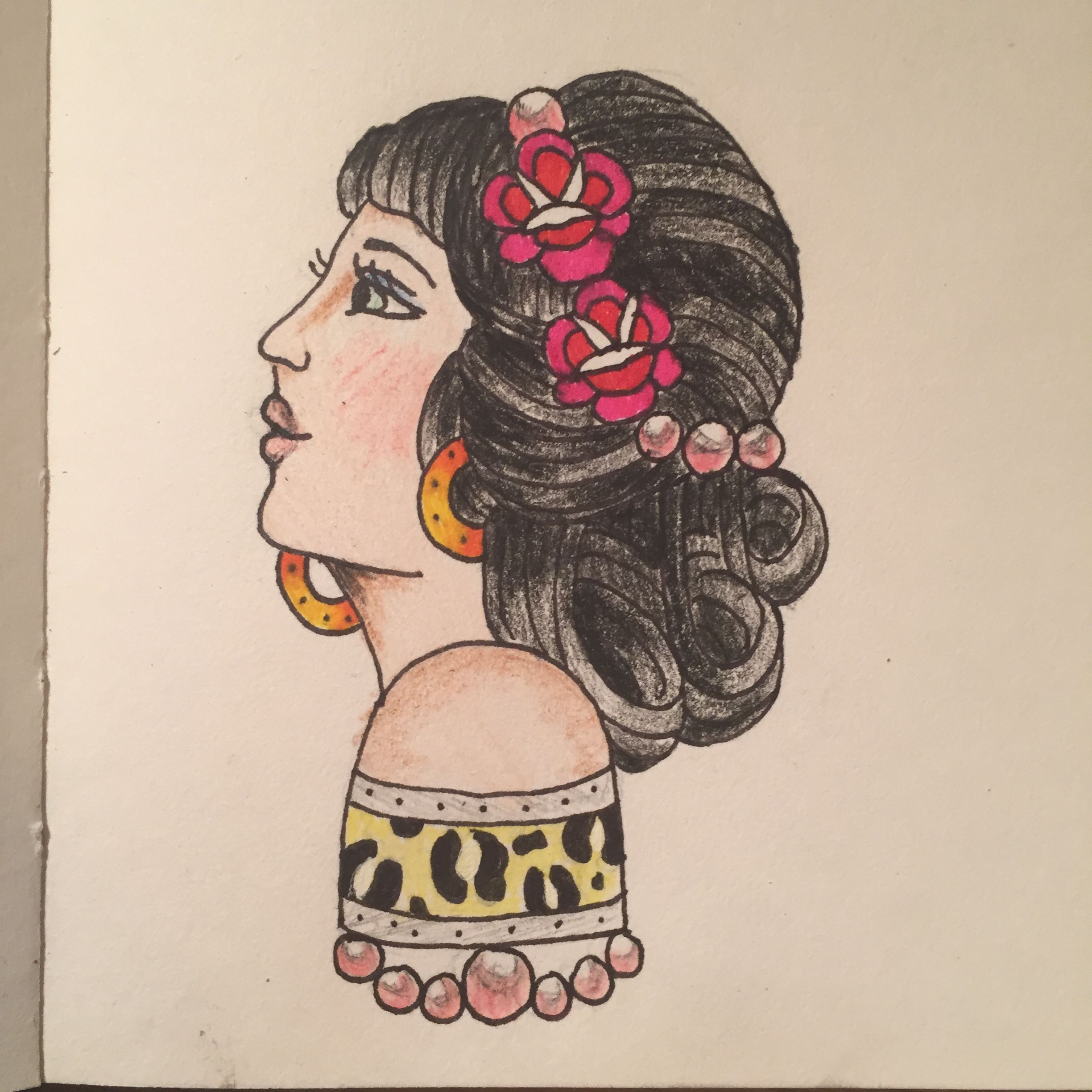 American traditional tattoo drawing of a gypsy lady