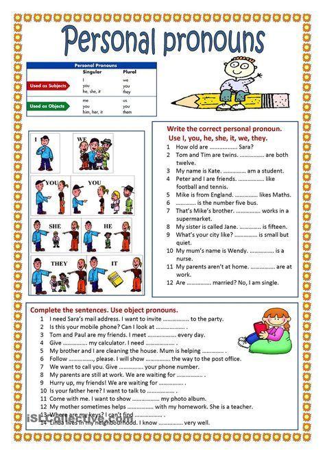 Personal Pronouns Pronoun Worksheets Personal Pronouns Personal Pronouns Worksheets