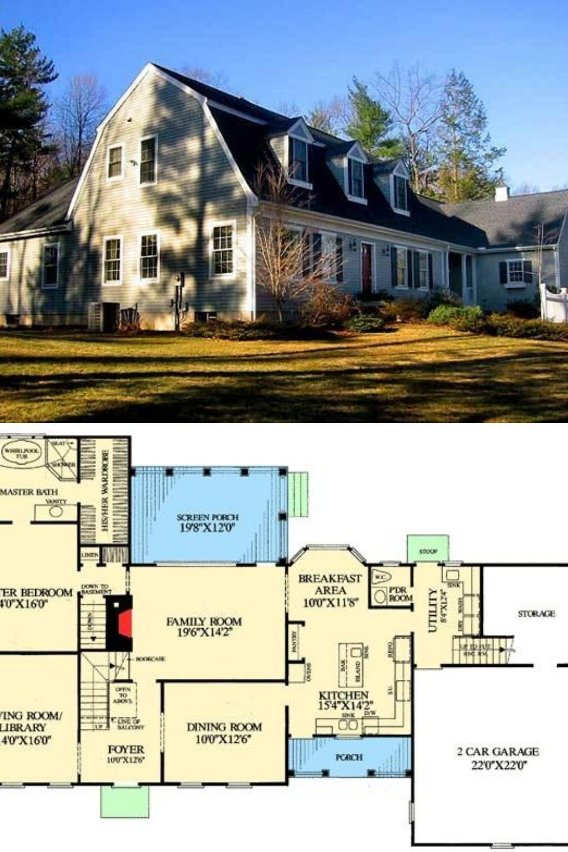 2 Story 4 Bedroom Cape Cod House Plan with Gambrel Roof Floor Plan