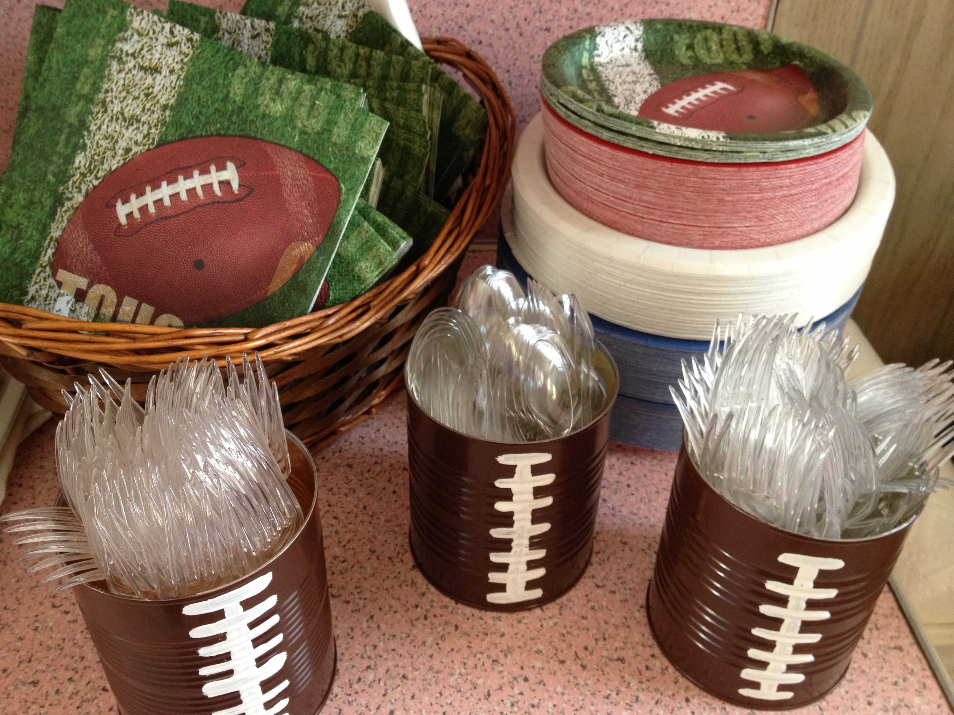 Football fun for an organized Superbowl party.