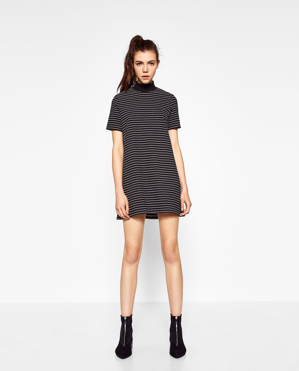 Black turtleneck dress zara