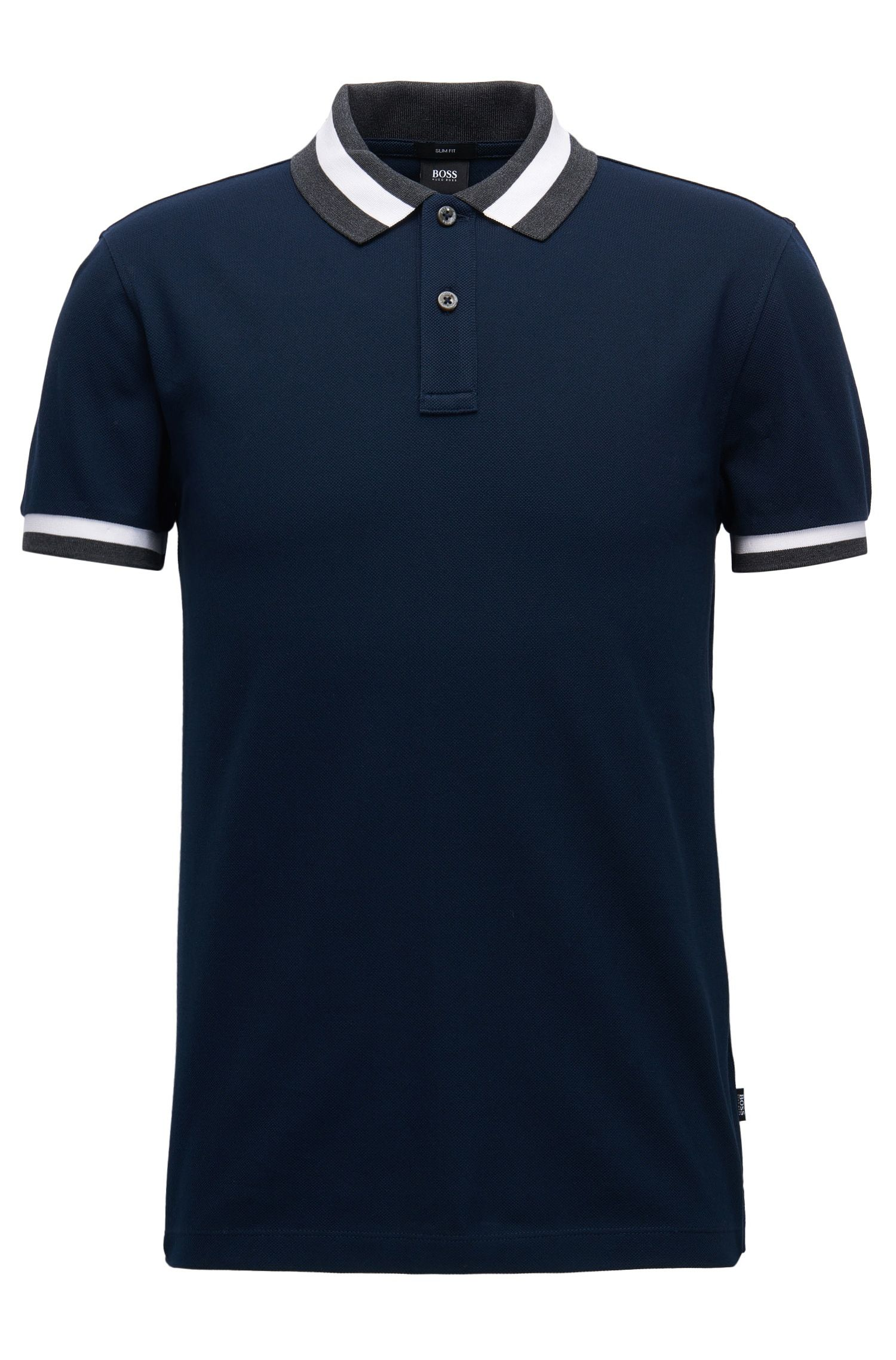 5d99c6f83 Cotton Polo Shirt, Slim Fit   Phillipson Dark Blue from BOSS for Men for  $115.00 in the official HUGO BOSS Online Store free shipping