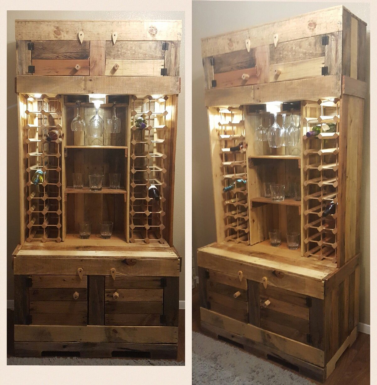 Diy Rustic Wine And Liquor Cabinet With Recessed Lighting Handcrafted From Pallet W Pallet Furniture Restaurant Diy Deck Furniture Diy Outdoor Furniture Plans