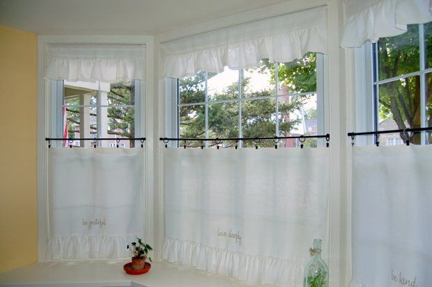 Custom Cafe Tier Curtains For Bay Window Rings And Ring Clips With