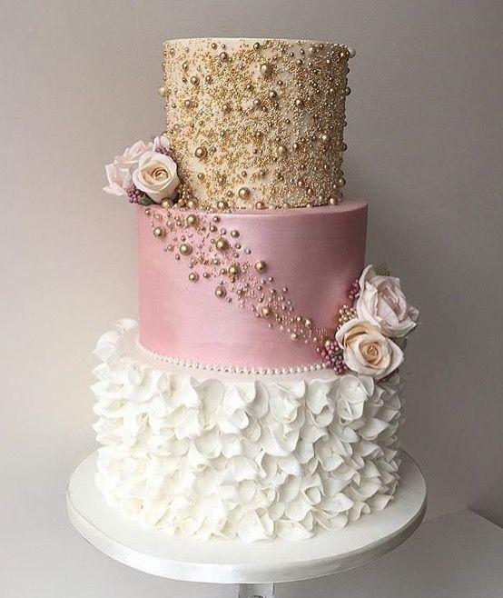 Beautiful gold, mauve, white wedding cake – Famous Last Words