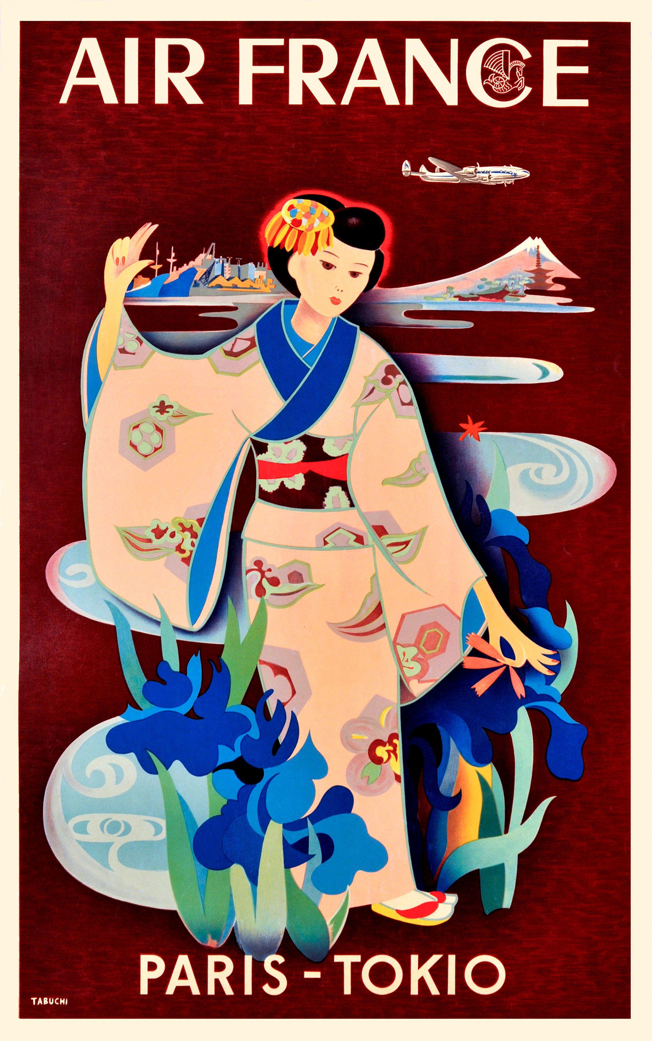1952 Paris Tokio Air France Advertising Poster by Retro