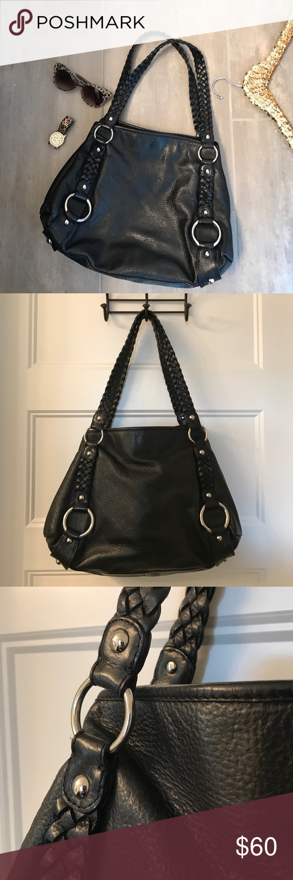 "EUC Banana Republic leather kempton harness tote Banana Republic. Very lightly used. Very minimal signs of wear if any at all. Silver tone hardware. Black leather.  Braided straps. Magnetic closure. BR signature lining.  All zippers work. Approx measures. 14.5 x 12 x 3.5 .  Strap drop - 11"". Banana Republic Bags Shoulder Bags"