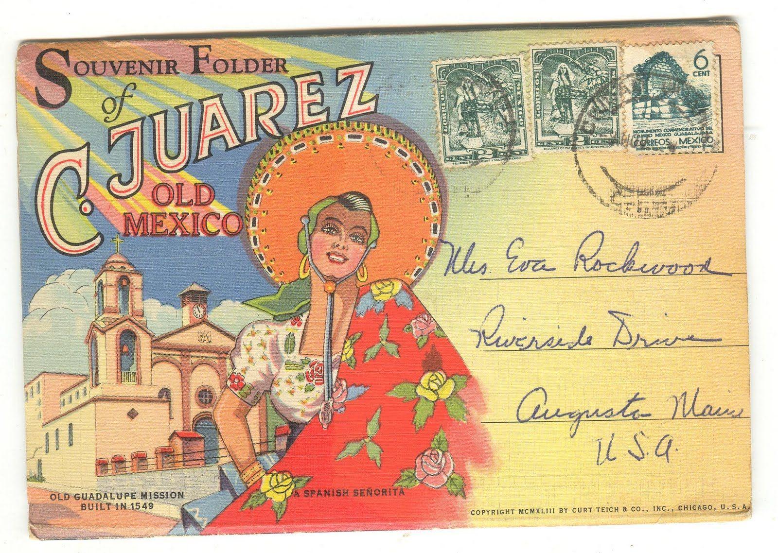 Vintage Postcard Muted Orange Blue Green Yellow Vintage Postcards Vintage Postcard Postcard