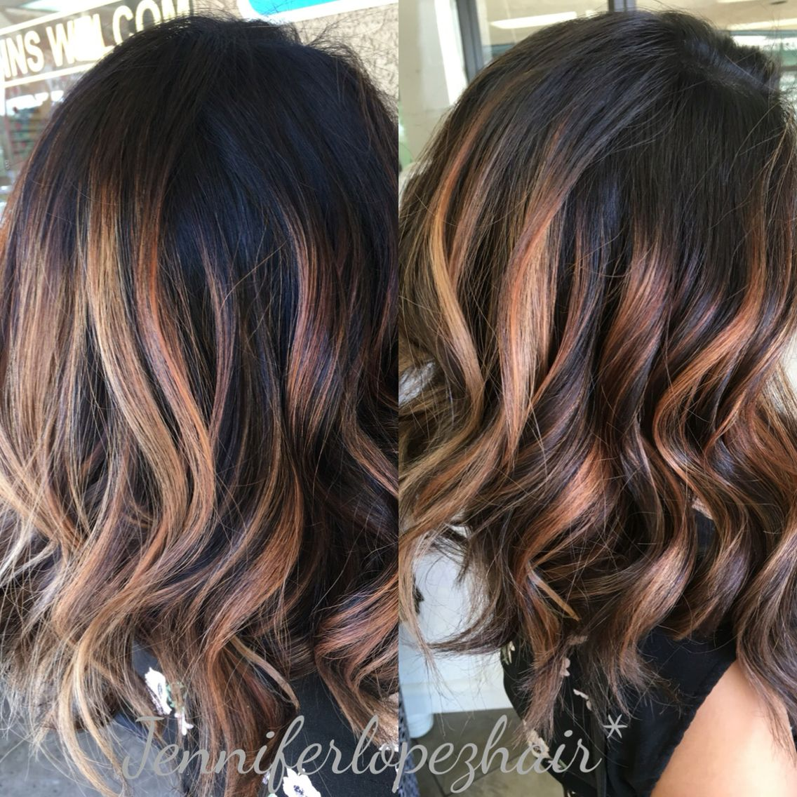 Dark brown with beige blonde balayage amazing dimensions ...
