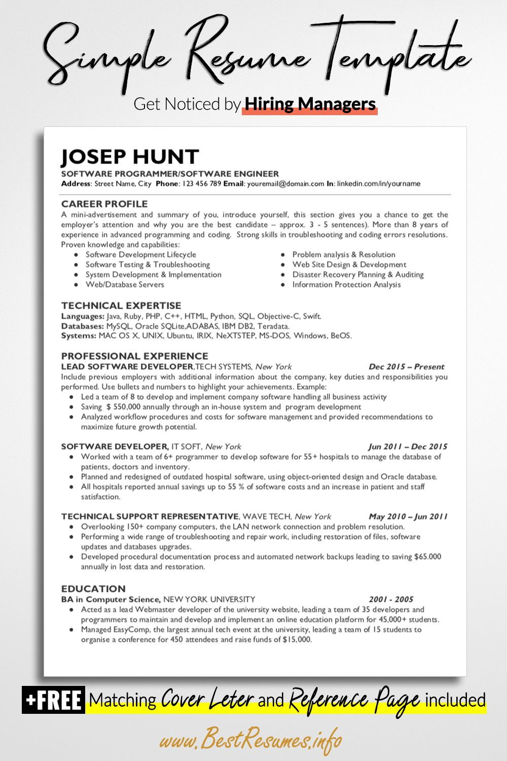 Technical Resume Template Joseph Hunt Bestresumes Info Resume Template Business Resume Template One Page Resume Template