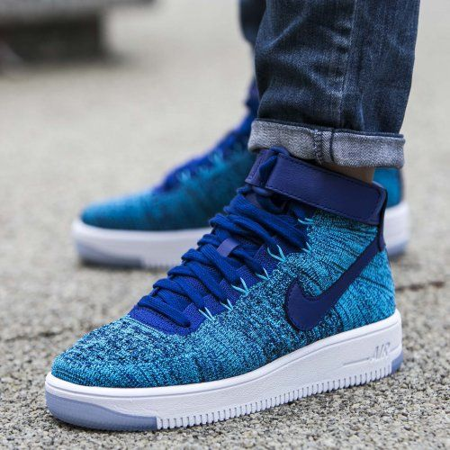 new style 39df5 a58b3 ... BandanaFeverDesigns Nike Air Force 1 Ultra Flyknit Mid Blue ...