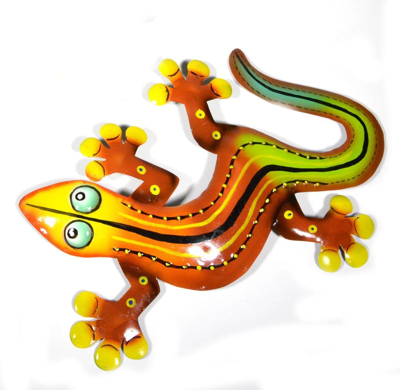 U beautiful unique orange red yellow gecko lizard metal garden