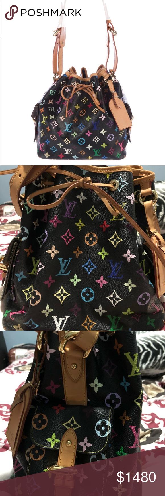 e2a32f168168 Louis Vuitton Multicolor Noe Bucket Shoulder Bag Authentic Limited Louis  Vuitton Black Multicolor Noe Bucket Bag