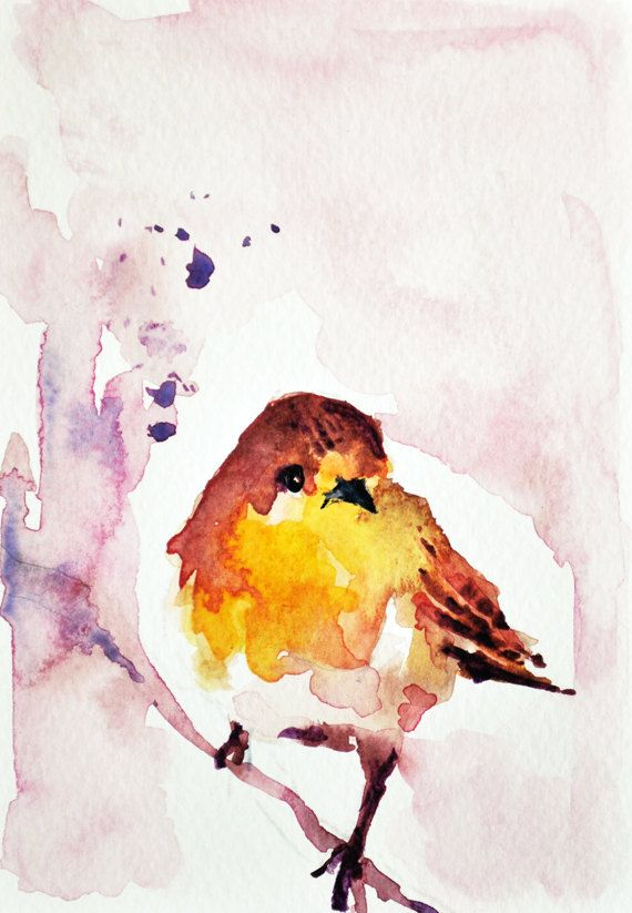 Sparrow On A Branch Bird Watercolor Print Room Decor 8x10 Inch