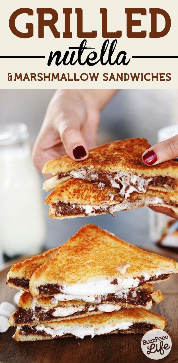 Grilled Nutella And Marshmallow Sandwiches food nutella delicious baking recipe brownies recipes dessert recipe dessert recipes food tutorials food tutorial nutella recipes