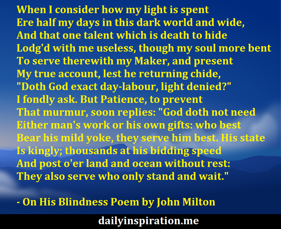 On His Blindness Poem By John Milton Logical Quotes Poems
