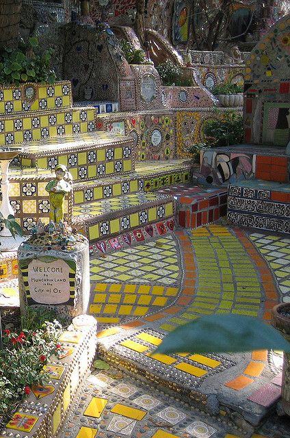 Garden of Oz - private mosaic garden in Hollywood, California, via Surfboard Mosaics flickr stream.