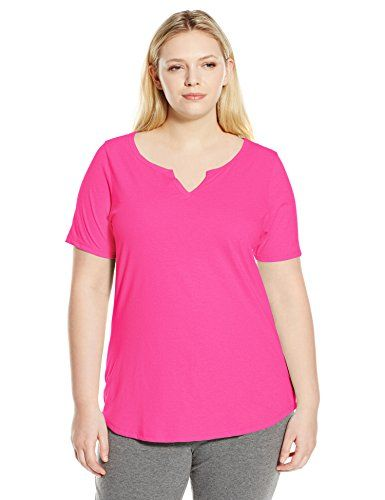 Just My Size Women S Plus Size Solid Split Neck Shirttail Hem Tee