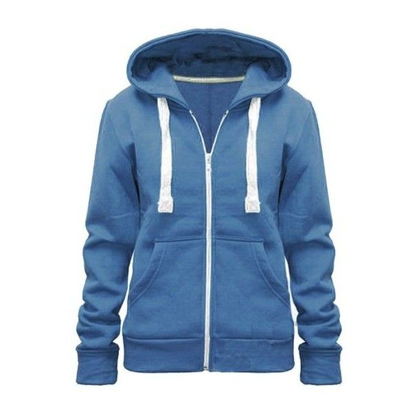 Ladies Womens Plain Colour Hoodie zip sweater hood plus size (UK 8-22)  ( 2.88) ❤ liked on Polyvore featuring tops 9232a255c