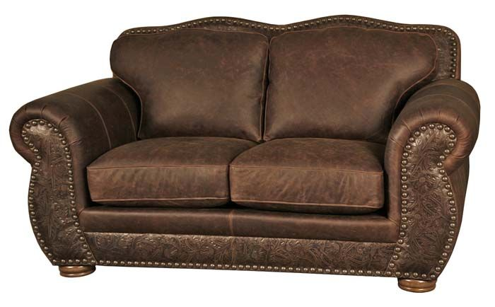 Western Style Leather Loveseat 6628 | Love seat, Leather ...