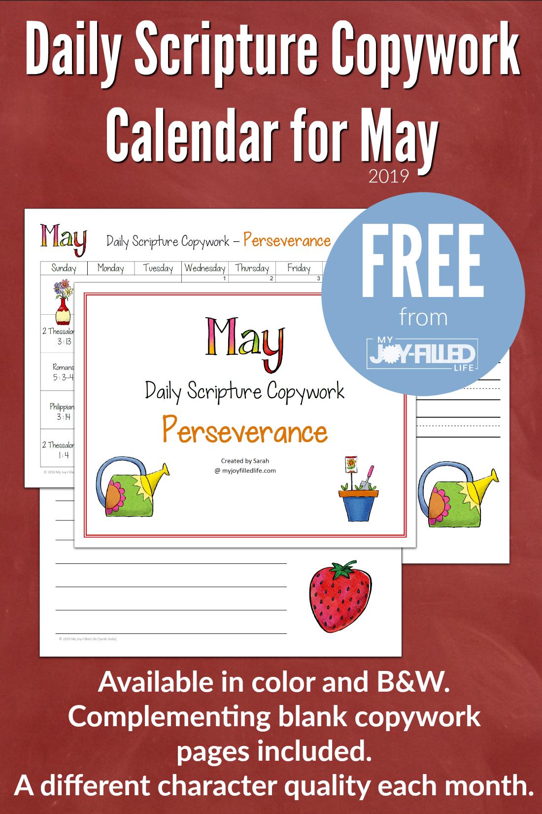 Daily Scripture Copywork Calendar For May