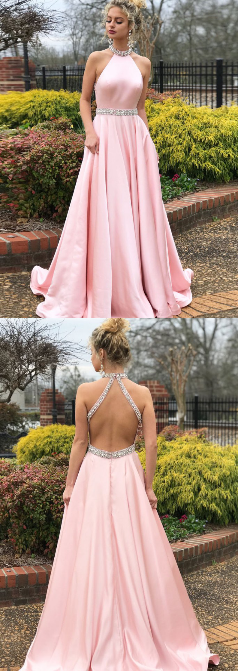 Simple A-line Prom Dresses Pink High Neck Cheap Beading Prom Dress ...