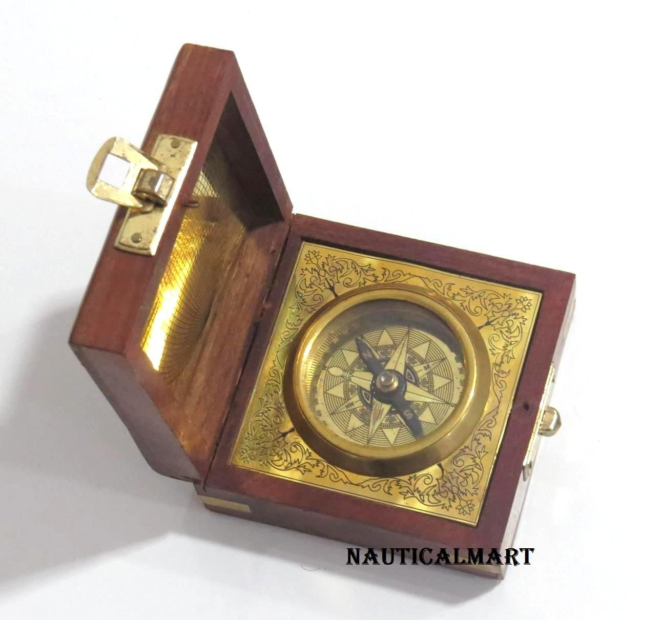 Maritime Bras Handcraft Compass Functional Magnetic Sundial Tool With Box Wooden