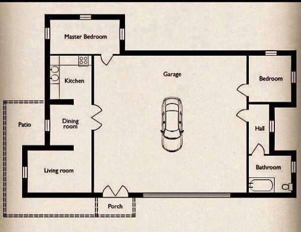 Small Home With A Big Garage Floor Plan Garage Floor Plans Big Garage House Floor Plans