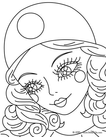 Pierrot Coloring Pages Colombine Close Up Coloring Page Avec