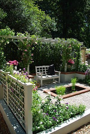 & raised beds... for when we eventually take down the playset?? I even like this idea of a trellis next to our existing fence. Making our backyard private!