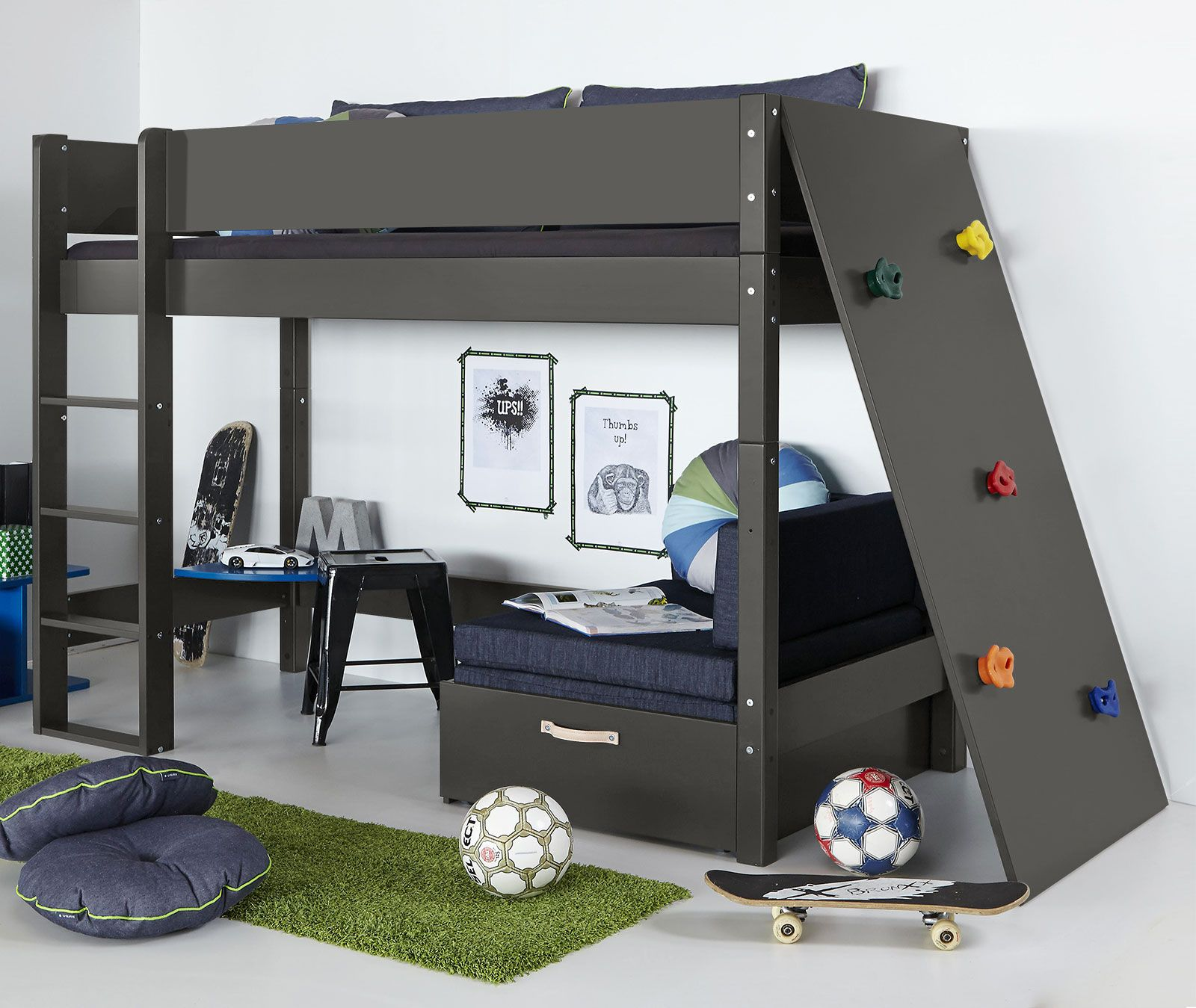 stabiles kinder midi hochbett kids town mit kletterwand bed marij pinterest kletterwand. Black Bedroom Furniture Sets. Home Design Ideas
