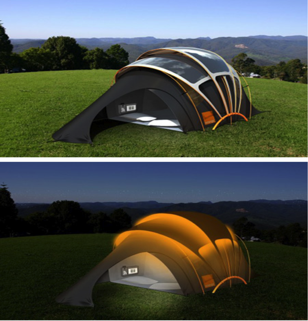 solar powered tent lets you light up your night. Black Bedroom Furniture Sets. Home Design Ideas