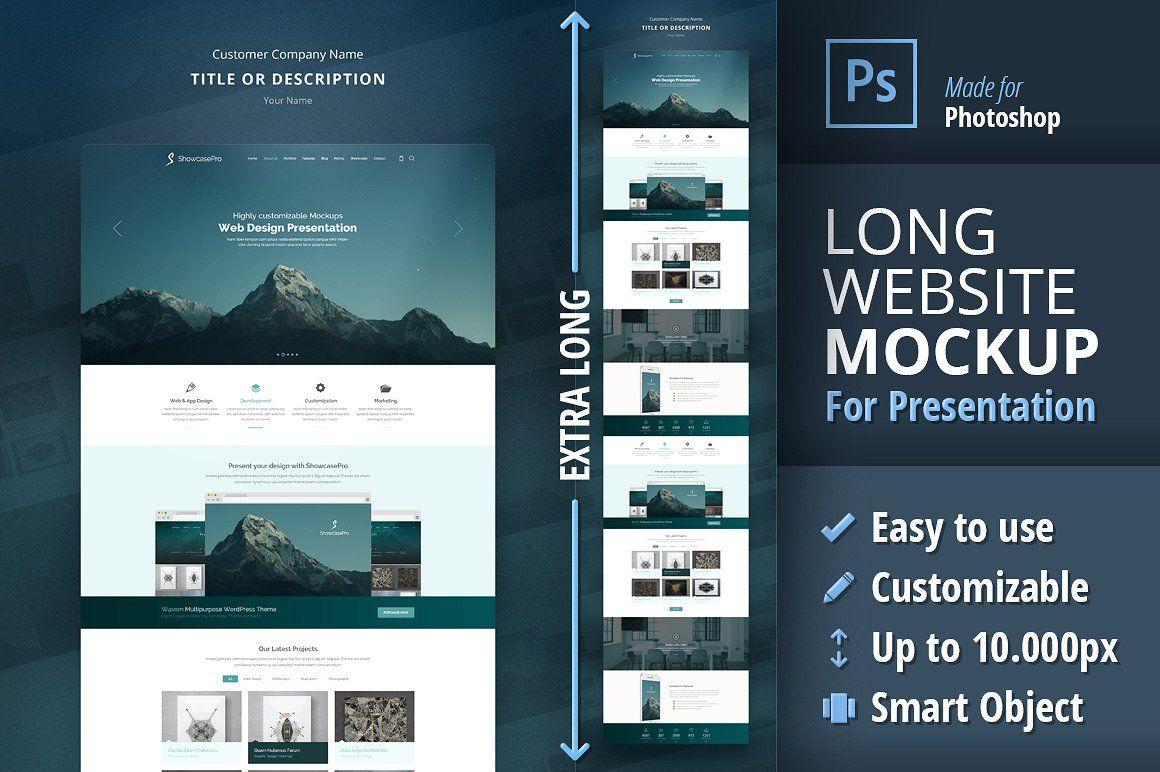 Long Website Mockup For Presentation Website Mockup Web Design Presentation